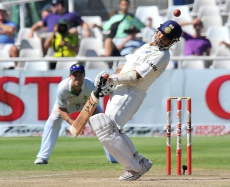 India's Sachin Tendulkar tries to avoid
